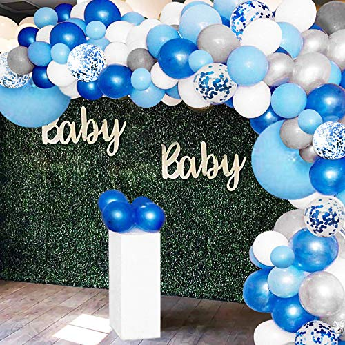 135 Pieces Blue Balloon Garland Arch Kit – White Silver and Confetti Latex Balloons for Baby Shower Wedding Birthday Party Centerpiece Backdrop Background Decoration