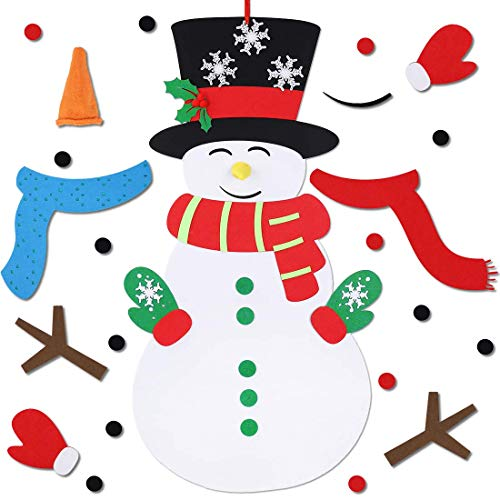 Max Fun DIY Felt Snowman Games Set with 3 Style Modes 38PCS Detachable Ornaments Wall Hanging xmas Gifts for Christmas Decorations Snowman