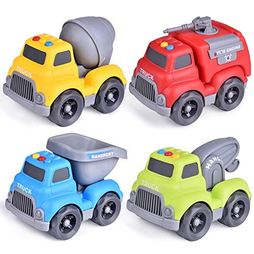 FUN LITTLE TOYS Construction Vehicles Truck Toys Set for Toddlers 4 PCs Push and