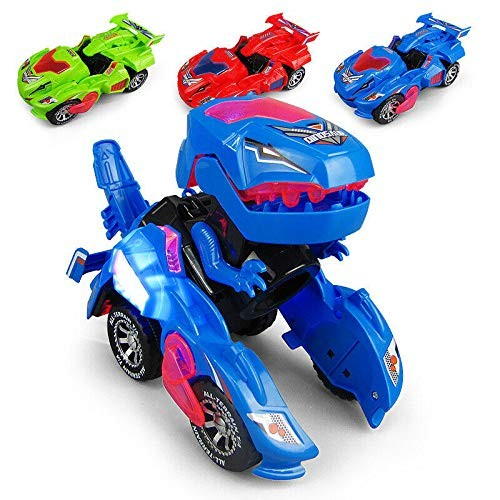 Kids Dinosaur Car ToysTransforming Dinosaur LED Car Automatic Dino Transformer Toy Car for Kids