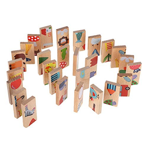 ViaGasaFamido 28pcs Building Blocks Set Animal Pattern Wooden Dominoes Stacking Game Educational Toys for Over 3 Years Old Babies