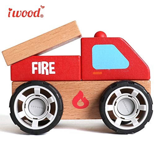 iwood Toys Cars for 3-6 Year Old Wooden Toddler Toys for Kids[Fire Truck]