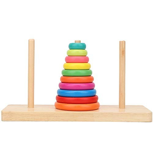 Pokerty Wooden Stacking Ring Toy Kids Tower Educational Toys Rainbow Stack Up Play Gift Colorful