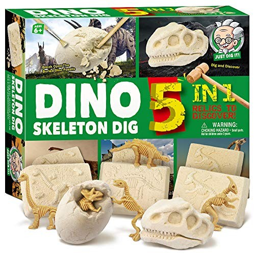 xxTOYS Dinosaur Skeleton Dig Kit for Kids Break Into 5 Bricks Fossils Excavation Set Interactive Excavating Toys Great Birthday Gift Idea Contest Prize Boys and Girls