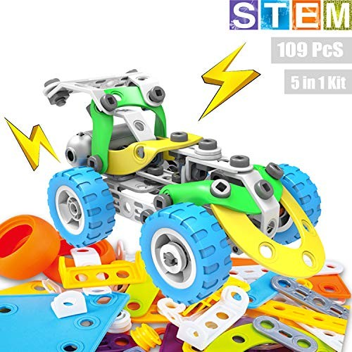 Toyeah 5 in 1 Robotics Set STEM Building Kit Construction Learning Toys Engineering Motorized Blocks Vehicle for 6 7 8 9 10+ Year Old Kids 109 Pieces