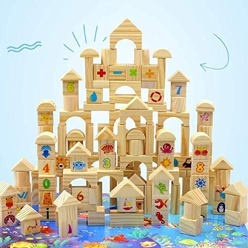 Lcxliga Urban Traffic Building Blocks Shape Bricks Construction Puzzle Toy 100 Piece Large Wooden Set Games