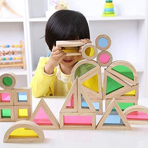 loinhgeo-Children Educational Puzzle Toy Kids Preschool Montessori Colorful Wooden Building Blocks Toys Set Stacking Game