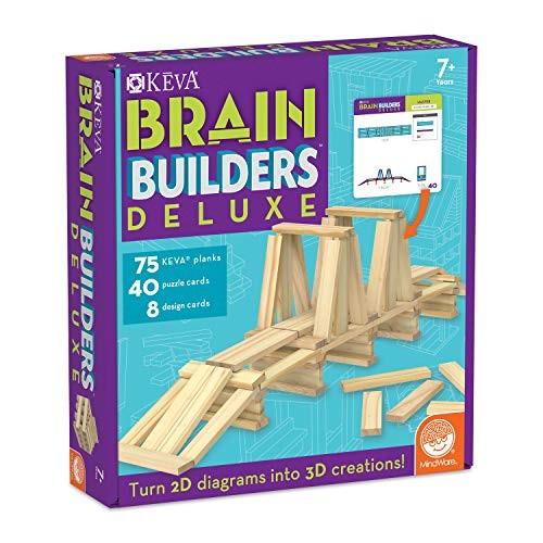 MindWare Keva Brain Builders Deluxe 75 Planks 40 Puzzle Cards 8 Design 3D Building Skills for Kids