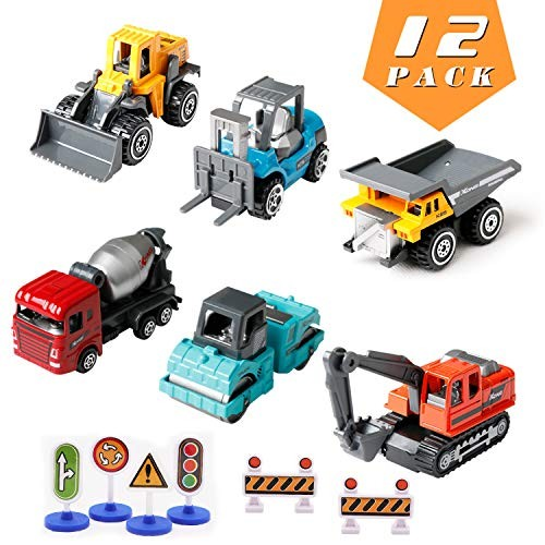 Kids Christmas Birthday GiftsConstruction TrucksKids Construction ToysMini Engineering Car Toys Set Alloy Kids Boys
