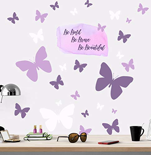 Create-A-Mural Be Bold Brave Beautiful Butterfly Girls Wall Decals Art Stickers for Bedroom Peel and Stick Kids Room Decor Nursery Toddler Teen Decorations Playroom Birthday Gift