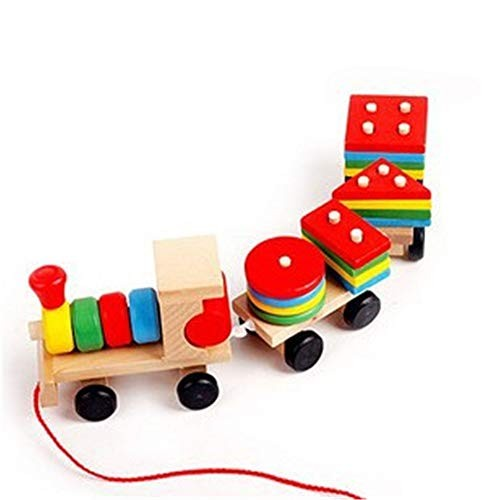 Qiupei Building Blocks Wooden Three-Section Train Toy Children's Educational Early Education