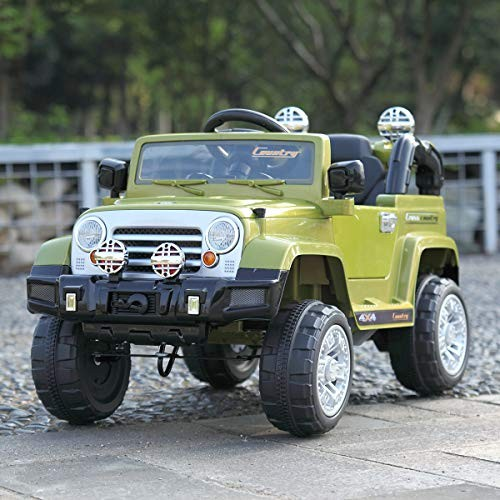 TOBBI Kids Ride on Truck Style 12V Battery Powered Electric Car W/Remote Control Green