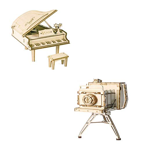 CROWNxZQ 2pcs Hands Craft Grand Piano Vintage Camera3D Wooden Puzzle Model KitFun and Creative Kit Brain TeaserDIY Building Toy for Kids Ages 8+ Adults