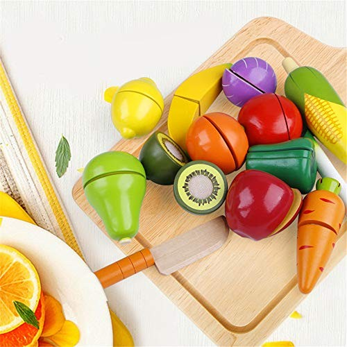 Qiupei Building Blocks Wooden Cuts Pretend Toy Sets for Fruits and Vegetables 12 PCS Play Kids Food Set