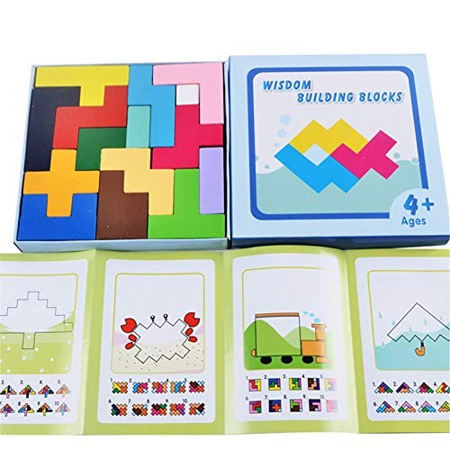 Blocks Wooden Square Puzzle Jigsaw Brainboard Warning Toy Intellectual Children's Geometry Learning Game Building Early Education Children Toddler For family kindergart