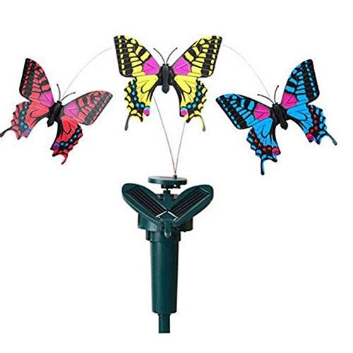 Aland Children's Educational Toys Puzzle ToyVibration Solar Power Dancing Flying Fluttering Butterflies Garden Decor