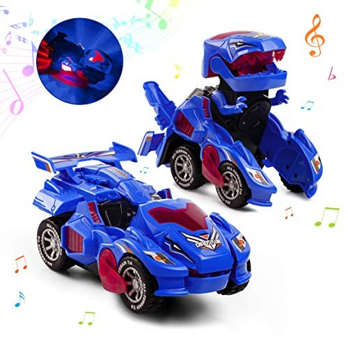 Refasy Robot Cars for Boys 3+ Year OldAutomatic Transforming Car Dinosaur Toys Deformation Ideal xmas Birthdays Gifts Kids Age 5-7 Vehicle Blue