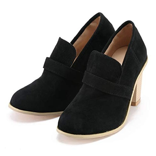 Womens Ankle Booties Casual Round Toe High Block Heels Faux Suede Boots Slip-On Shoes Sopzxclim Black
