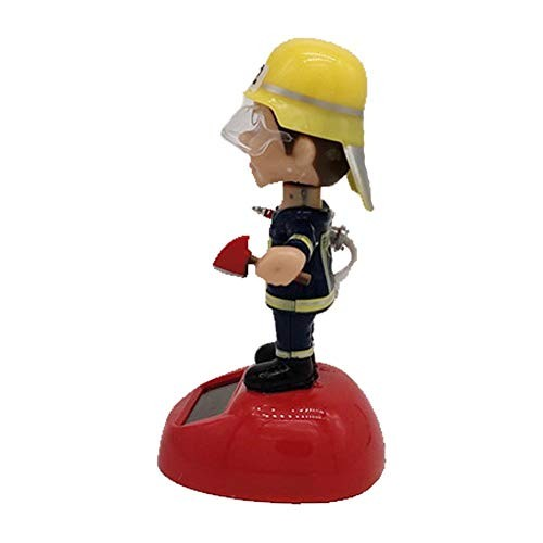 Feel-ling Solar Dancing Fireman Toy Swinging Animated Powered Shaking Head Dolls Fun Desktop Decor Gift for Car Home Office Cosy Sweet Usefulness Awesome