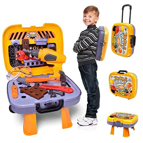 FUN LITTLE TOYS Kids Tool Sets with Electronic Cordless Drill 36 Pieces Toy Construction Set Box Trolley Pretend Play Kit for Toddlers
