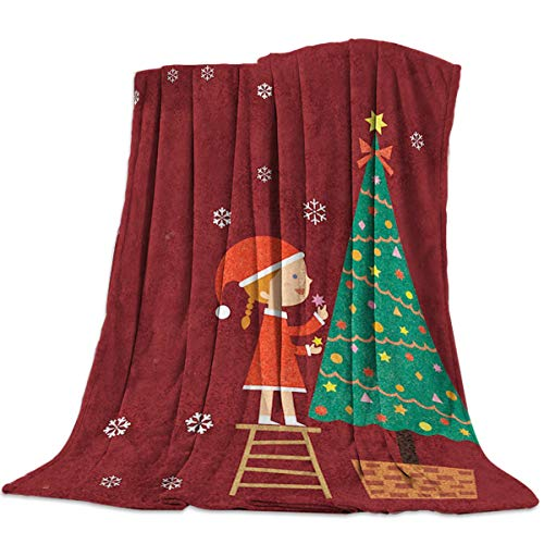 Cozy Flannel Blanket for Couch Bed Travel 59 x 79 Inches Christmas Girl Standing on Chair to Decorate xmas Trees with Decorative Ornaments – Soft Warm Plush Microfiber Throw Kids Parents