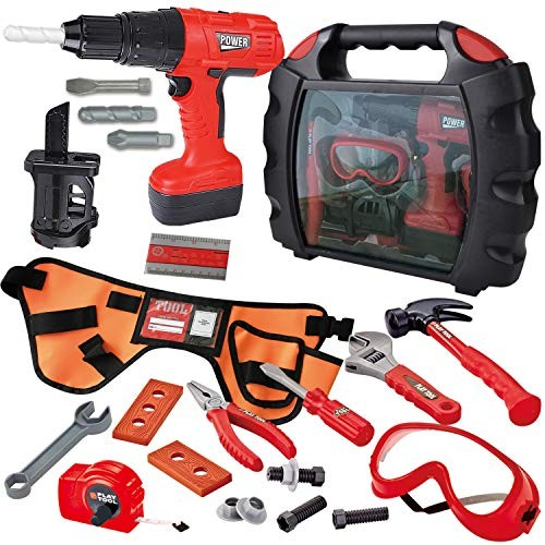 JOYIN 24 Pieces Kids Construction Tool Toy Kit Playset with Workshop Carry Case Worker Costume Belt Electric Drill and Other Accessories