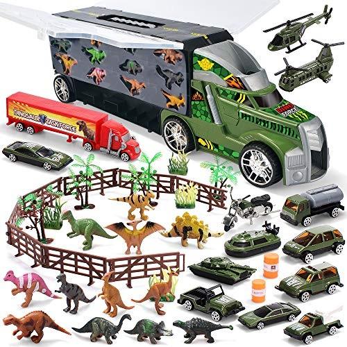 JOYIN Dinosaur Carrier Truck with 12 Dinosaurs and 13 Vehicles Dino Park Pretend Play