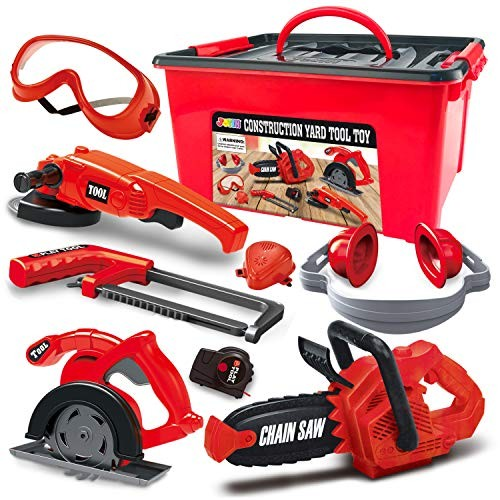 JOYIN 8 Pieces Construction Tool Toy Playset Power Backyard Constructions Kit Pretend Including Realistic Chainsaw in Convenient Storage Box