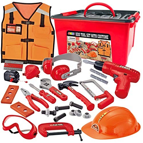 JOYIN 24 Pcs Construction Tool Accessories Playset Pretend Play Toy Kit Including Worker Costume and Electric Drill in Storage Box