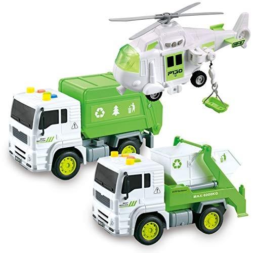 JOYIN 3 in 1 Friction Powered City Waste Management Vehicle Car Truck Toy Set