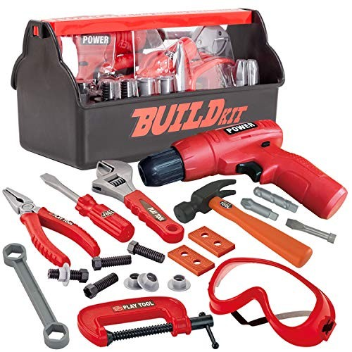 JOYIN 19 Pieces Pretend Play Construction Tool Set with a Box Including Accessories and Toy Electric Drill
