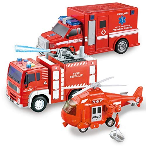 JOYIN 3 in 1 Friction Powered City Fire Rescue Vehicle Truck Car Set Including