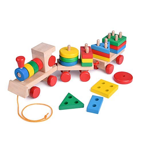 FUN LITTLE TOYS 155 Inches Wooden Train Toddler Shape Sorter and Stacking Blocks Puzzle Preschool Educational