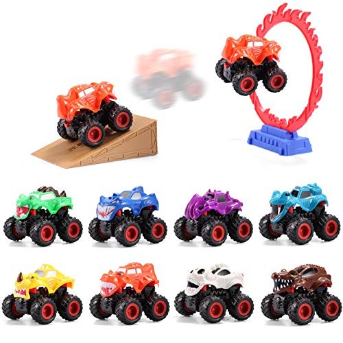 JOYIN 8 Pack Push-and-Go Monster Friction Powered Truck Toy Big Wheels with Stunt Park