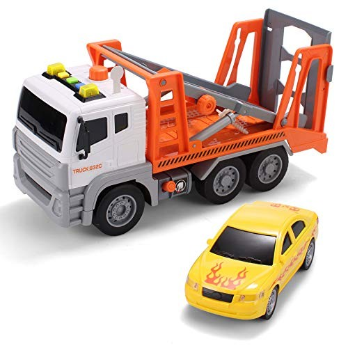 JOYIN 125 Friction Powered Jumbo Transport Car Carrier Tow Truck Toy with Lights &
