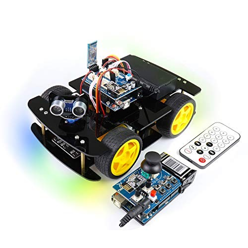 Freenove 4WD Car Kit with RF Remote Compatible Arduino IDE Robot Project Line Tracking Obstacle Avoidance Ultrasonic Sensor Bluetooth IR Wireless Control