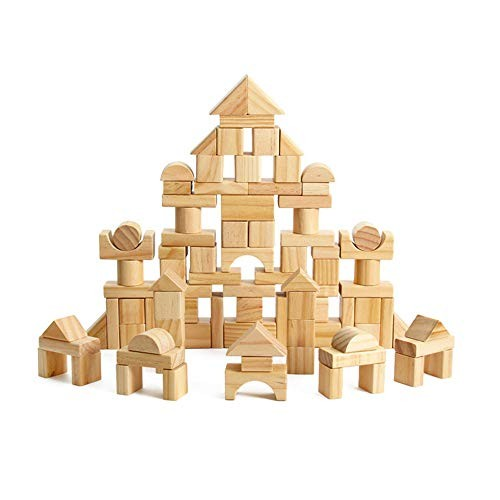 Yuybei-Toy Blocks 100 Wooden Set for Children Building Toys Develop Intelligence Grip Creativity Family kindergartens etc Color Beige Size Free Size