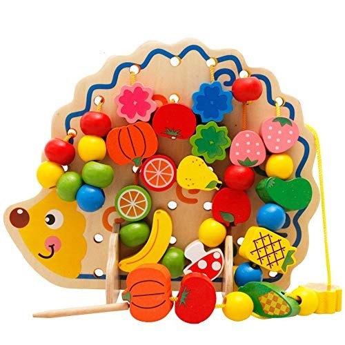 Building Blocks Bead Stringing for Toddlers Educational Toy-Large Wooden Forest Animals 82 Pieces Large Lacing Set Kids Color Multi-Colored Size 28x4x185cm
