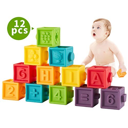 Bu-buildup BBU02001 Squeeze Baby Blocks Soft Building for Toddlers Teething Chewing Toys Educational with Animals Shapes Textures Numbers 12 PCS 6 Month & Up