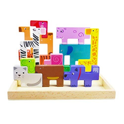 NUOBESTY Children Jigsaw Piece Wooden Handmade DIY Educational Building Block Puzzle Toy for Toddlers Kids