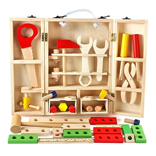 Sucfami Wooden Tool Toys Pretend Play Toolbox Aceessories Set 43PCS Construction Toy Role for Kids Ages 3+