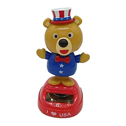 IMCROWN Solar Shaking Head DollSwinging Bear Car Decoration Cartoon Doll Interior Kids Toys Gift for National DayUnited States Toy Home
