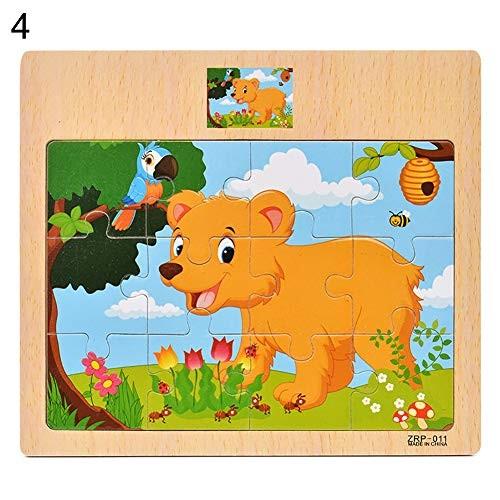 loinhgeo-Wooden Colorful Dinosaur Zebra Animal Jigsaw Puzzles Board Intelligent Kids Toy – Dog #