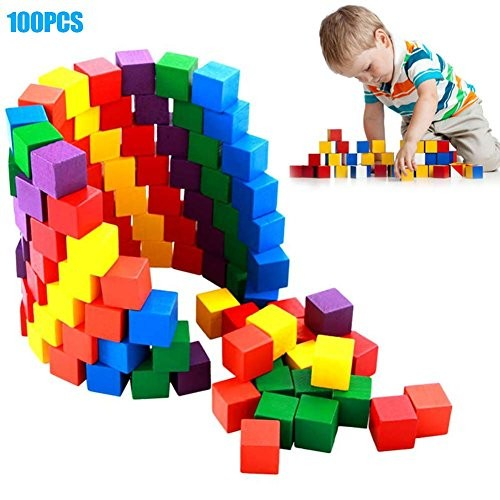 Fishoo 100 Pcs Set Infant Building Blocks Cube Wooden Squeeze Stack Block Baby Kids Educational Toys Children Gifts