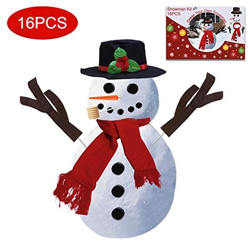 Snowman Kit Decoration Making Christmas Gift Winter Outdoor Fun Toys for Kids 16 Pcs Decorating includes Hat Scarf Nose Pipe Eyes Mouth and Buttons