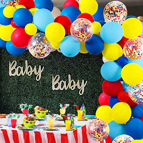 Carnival Circus Balloon Arch and Garland Kit – 105 Pack Red Blue Yellow Latex Balloons Rainbow Multicolor Pre-Filled Confetti for Baby Shower Wedding Birthday Graduation Anniversary Bachelorette Party Background Decorations