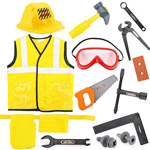 Children's Engineering Costume Dress Up Role Play Clothes Set Construction Worker for Kids Halloween Years Boys and Girls