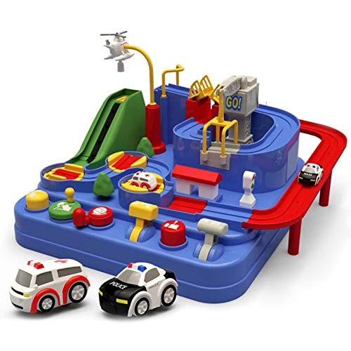 Alexsix Car Adventure Game Manipulative Rescues Squad Adventure Rail Car Model Racing Educational Toy