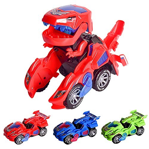 AINOLWAY Transforming Toys Dinosaur Cars Combined Into OneAutomatic Transformation Transformation of Dinosaur LED Cars