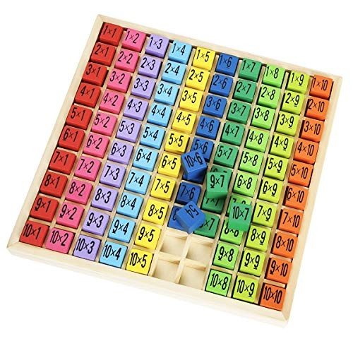 ROBUD Wooden Multiplication & Math Table Board Game Kids Montessori Preschool Learning Toys Gift for Toodler Aged 3 Years Old and Up – 100 Cubes Building Blocks